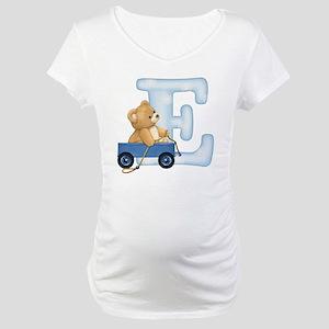 Teddy Alphabet E Blue Maternity T-Shirt
