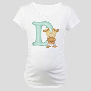 Teddy Alphabet D Green Maternity T-Shirt