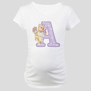 Teddy Alphabet A Purple Maternity T-Shirt