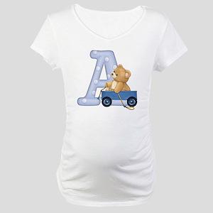 Teddy Alphabet A Blue Maternity T-Shirt