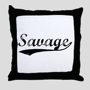 Vintage Savage (Black) Throw Pillow