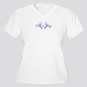 DUE IN JULY Women's Plus Size V-Neck T-Shirt