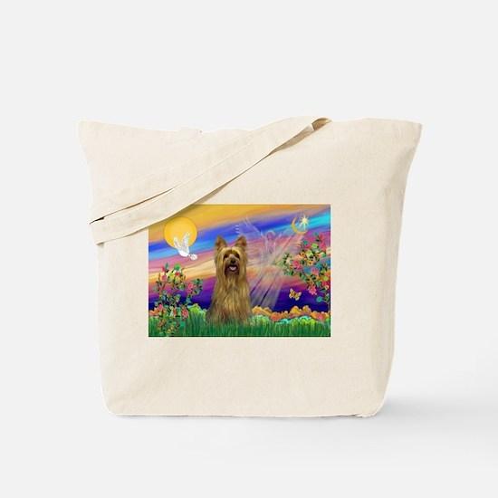Guardian Angel Silky Terrier Tote Bag