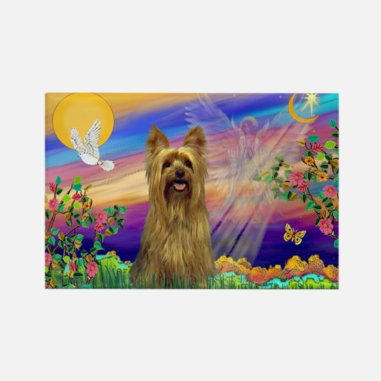 Guardian Angel Silky Terrier Rectangle Magnet