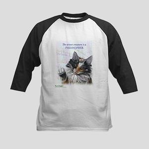 Ideal cat gift wise skogkatt Kids Baseball Jersey