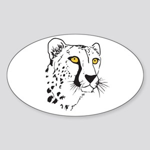 Silhouette Cheetah Oval Sticker
