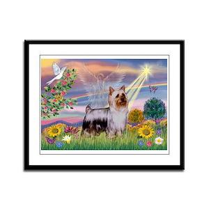 Cloud Angel / Silky Terrier Framed Panel Print