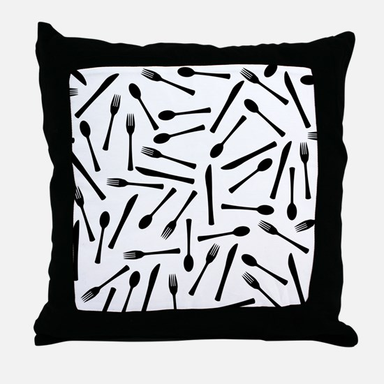 Funny Food service Throw Pillow
