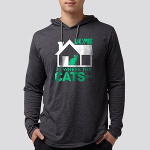 I Home Is Where The Cats Are T Long Sleeve T-Shirt
