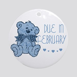 Blue Marbled Teddy Due In February Ornament (Round