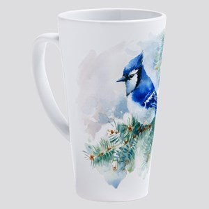 Watercolor Blue Jay 17 oz Latte Mug