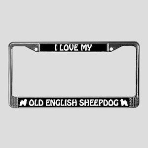 I Love My Old English Sheepdog License Plate Frame
