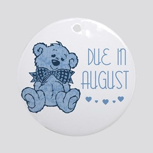 Blue Marbled Teddy Due In August Ornament (Round)