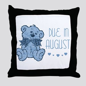 Blue Marbled Teddy Due In August Throw Pillow