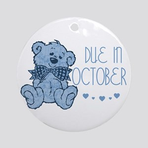 Blue Marbled Teddy Due In October Ornament (Round)