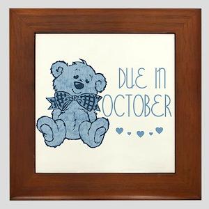 Blue Marbled Teddy Due In October Framed Tile
