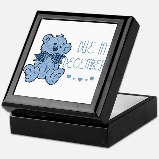 Blue Marbled Teddy Due In December Keepsake Box