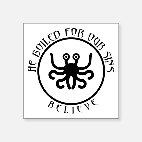 "Cute Flying spaghetti monster car Square Sticker 3"" x 3"""