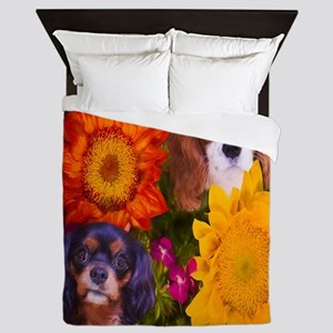 Two Cavaliers With Two Sunflowers Queen Duvet