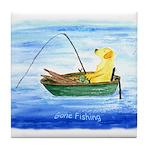 Gone Fishing Dog Tile Coaster
