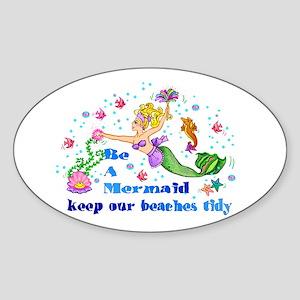 Be A Mermaid Oval Sticker