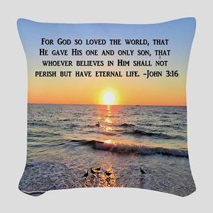 JOHN 3 16 VERSE Woven Throw Pillow