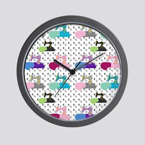 Colorful Sewing Machines Wall Clock