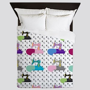 Colorful Sewing Machines Queen Duvet