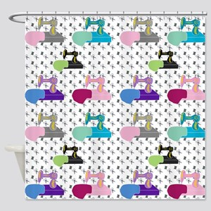 Colorful Sewing Machines Shower Curtain