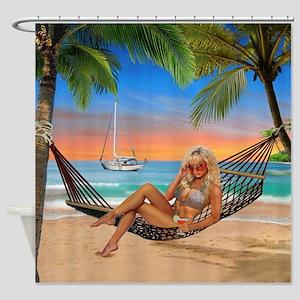Happy Hour on the Beach Shower Curtain