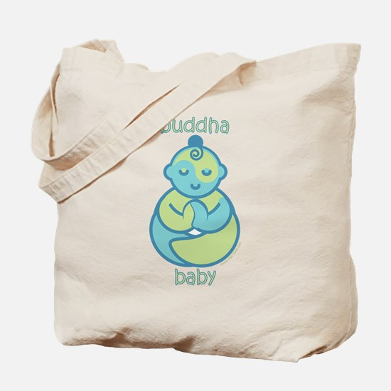 Happy Buddha Baby : Blue & Green Tote Bag