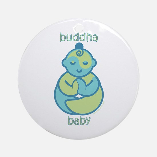 Happy Buddha Baby : Blue & Green Ornament (Round)