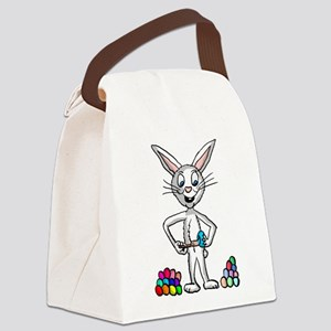 Easter Bunny painting eggs Canvas Lunch Bag