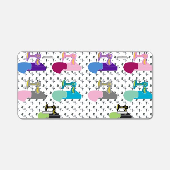 Colorful Sewing Machines Aluminum License Plate