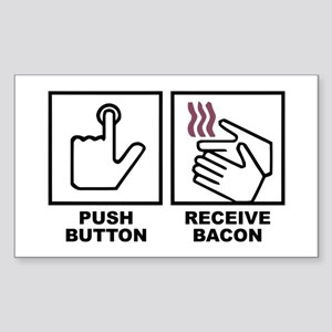 Push Button Receive Bacon Rectangle Sticker