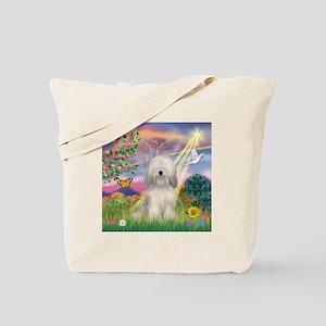 Cloud Angel & Tibetan Terrier Tote Bag