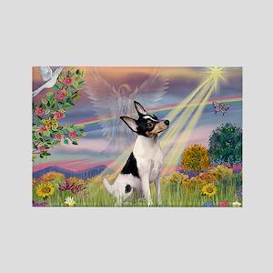 Cloud Angel & Toy Fox Terrier Rectangle Magnet