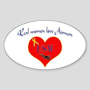 Real Women Airman Oval Sticker
