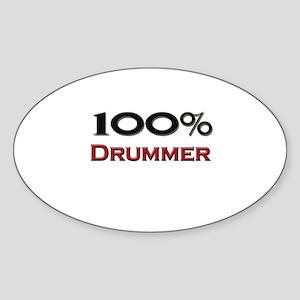 100 Percent Drummer Oval Sticker