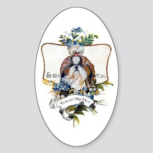 Shih Tzu Forget Me Not Sticker (Oval 10 pk)