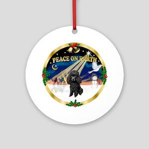 Peace - Black Poodle Ornament (Round)