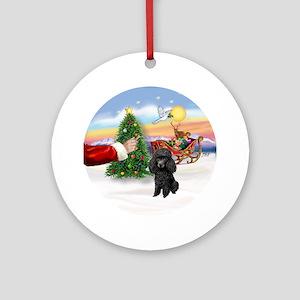 Treat for Santa's black Poodle Ornament (Round)
