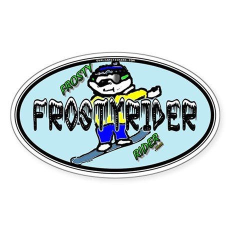 Frosty Rider Oval 1 Oval Sticker