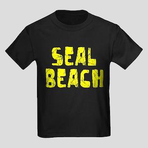 Seal Beach Faded (Gold) Kids Dark T-Shirt