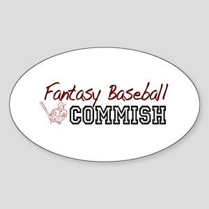 Fantasy Baseball Commish Oval Sticker