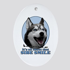 Gray Sibe Smile Oval Ornament