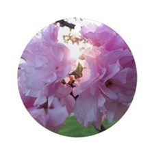 Kwanzan Cherry Blossoms Round Ornament