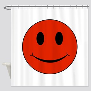 Red Smiley Face Shower Curtain