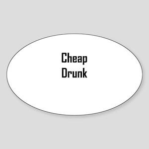 Cheap Drunk Oval Sticker