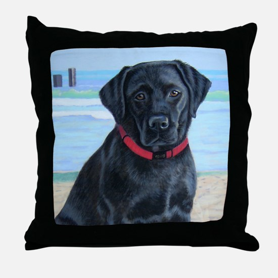 Black Lab on Beach Throw Pillow